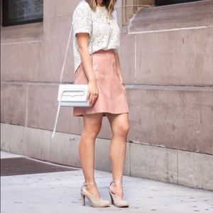 Zara faux leather pink rose mini skirt medium